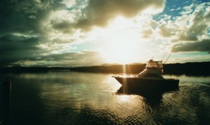 Black Watch 36' Boat at Sunset
